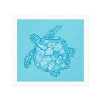 Pintura azul de la tortuga de mar del batik en lon lona estirada galerias
