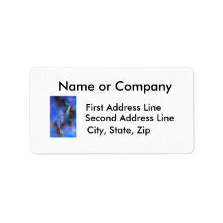 Pintura azul de las huellas etiqueta de dirección