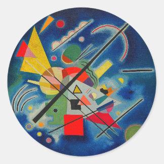 Pintura azul de Wassily Kandinsky Pegatina Redonda