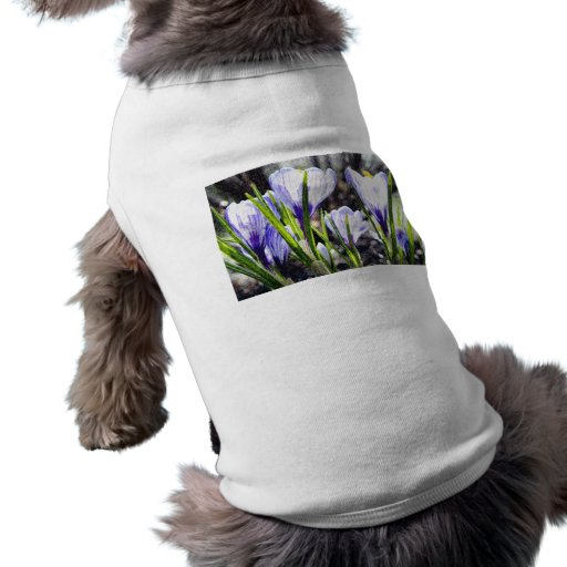Pintura azul del azafrán camiseta de perrito
