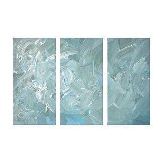 Pintura azul del extracto del tono impresión en lienzo