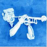Pintura azul del watercolour del jugador de trompe esculturas fotograficas