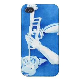 Pintura azul del watercolour del jugador de trompe iPhone 4 carcasa