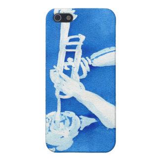 Pintura azul del watercolour del jugador de trompe iPhone 5 carcasas