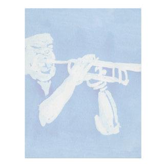 Pintura azul del watercolour del jugador de trompe membrete