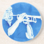 Pintura azul del watercolour del jugador de trompe posavasos cerveza