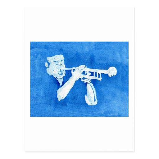 Pintura azul del watercolour del jugador de trompe postal