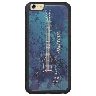 Pintura azul Splats del esquema de la guitarra Funda De Arce Bumper Carved® Para iPhone 6 Plus