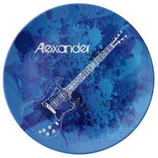 Pintura azul Splats del esquema de la guitarra Plato De Cerámica