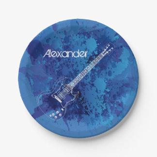Pintura azul Splats del esquema de la guitarra Platos De Papel