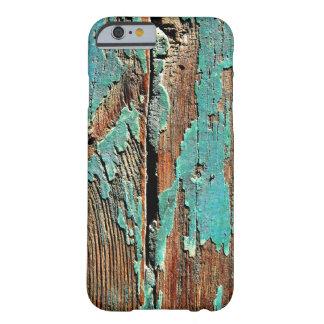 Pintura azul vieja en la madera funda para iPhone 6 barely there