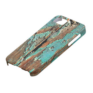 Pintura azul vieja en la madera iPhone 5 carcasas