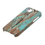 Pintura azul vieja en la madera iPhone 5 funda