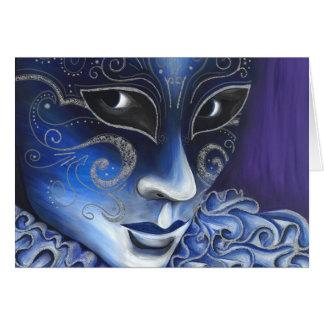 Pintura azul y de plata de la máscara del carnaval tarjeta