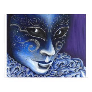 Pintura azul y de plata de la máscara del carnaval tarjetas postales