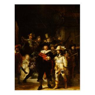 Pintura barroca del guardia nocturna de Rembrandt Postales