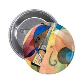 """Pintura """"Bassline """" de la música de jazz Pin Redondo De 2 Pulgadas"""