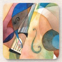 """Pintura """"Bassline """" de la música de jazz Posavasos De Bebidas"""