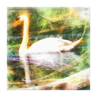 Pintura blanca abstracta del cisne lona envuelta para galerias
