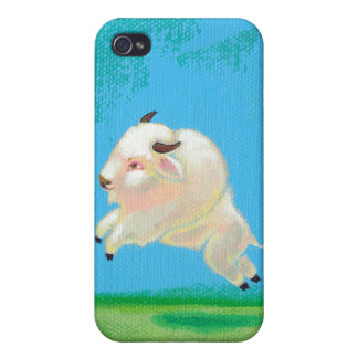 Pintura blanca del bisonte del salto feliz de la d iPhone 4 fundas