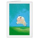 Pintura blanca del bisonte del salto feliz de la d felicitaciones