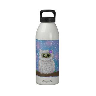Pintura blanca del búho en el cielo reluciente/Nev Botellas De Agua Reutilizables