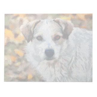 Pintura blanca del perro bloc de notas