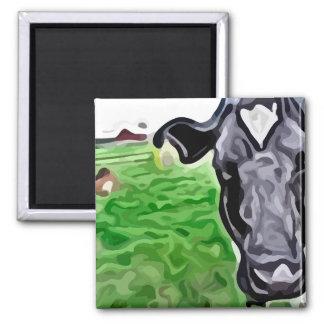 pintura blanco y negro de la vaca imán cuadrado