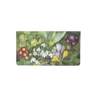 Pintura botánica de la flor de la primavera funda para chequera