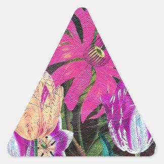 Pintura botánica rosada del cepillo del aceite de pegatina triangular