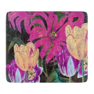Pintura botánica rosada del cepillo del aceite de tablas de cortar
