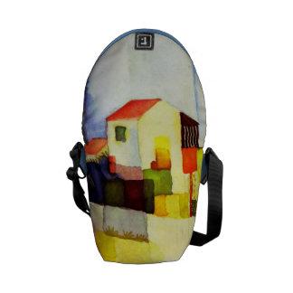 Pintura brillante de la acuarela de la casa de bolsas de mensajeria