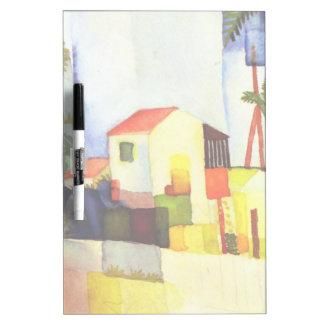 Pintura brillante de la acuarela de la casa de pizarras blancas de calidad