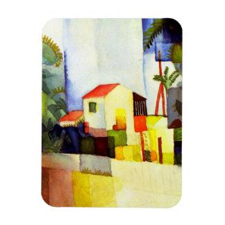 Pintura brillante de la acuarela de la casa de rectangle magnet