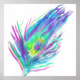 Pintura brillante de la acuarela de la pluma póster