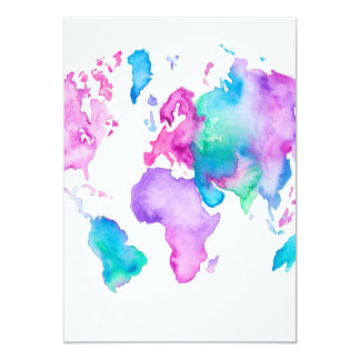"""Pintura brillante de la acuarela del globo moderno invitación 5"""" x 7"""""""