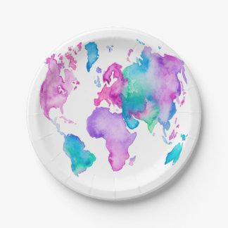 Pintura brillante de la acuarela del globo moderno plato de papel de 7 pulgadas