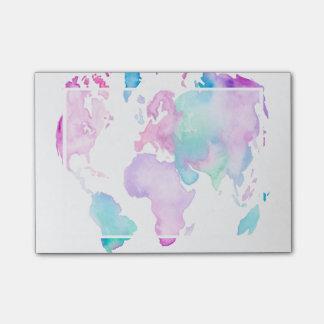 Pintura brillante de la acuarela del globo moderno post-it® nota