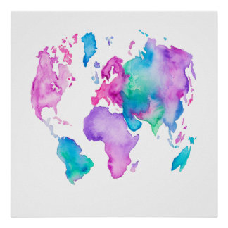 Pintura brillante de la acuarela del globo moderno póster