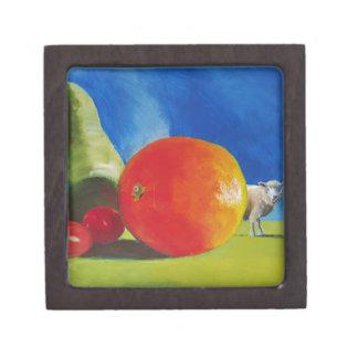 Pintura brillante de la fruta caja de joyas de calidad