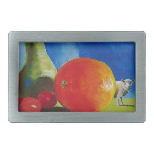 Pintura brillante de la fruta hebilla cinturón