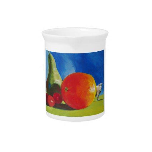 Pintura brillante de la fruta jarrones