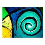 Pintura brillante enrrollada del arte abstracto de postales