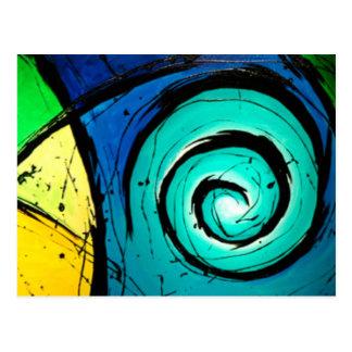 Pintura brillante enrrollada del arte abstracto de tarjetas postales