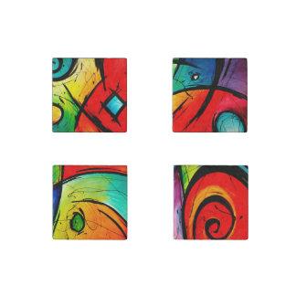 Pintura brillante enrrollada del arte abstracto imán de piedra