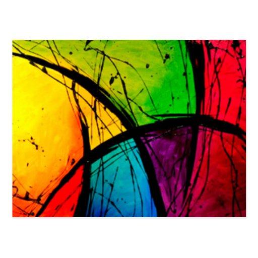 Pintura brillante enrrollada del arte abstracto postal