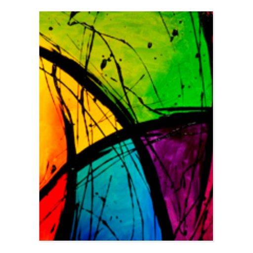 Pintura brillante enrrollada del arte abstracto tarjetas postales