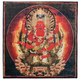 Pintura budista del siglo XIV de Aizen Myoo Servilleta