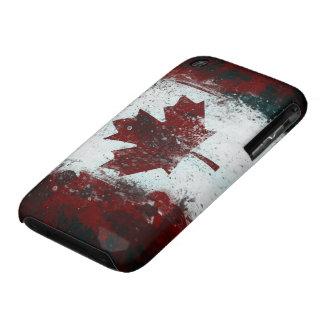 Pintura canadiense del grunge de la bandera iPhone 3 Case-Mate protectores