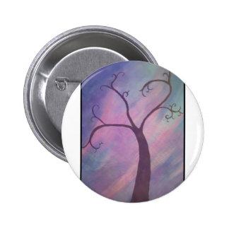 Pintura caprichosa del árbol enmarcada chapa redonda 5 cm